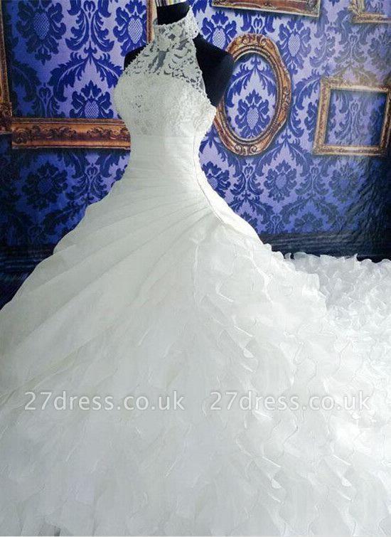 Gorgeous Ruffles Lace High Neck Wedding Dress Court Train Zipper
