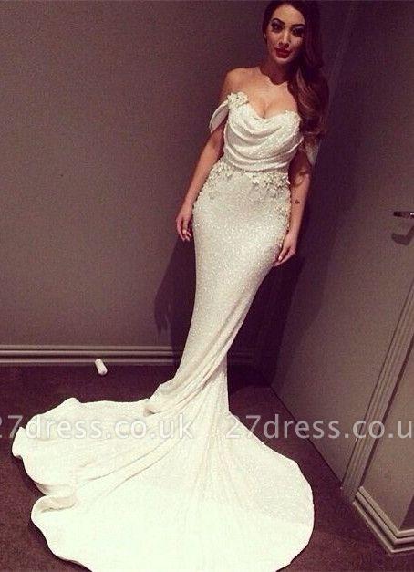 Glitz Off-the-Shoulder Sequins Prom Dress UKes UK Mermaid Floor Length