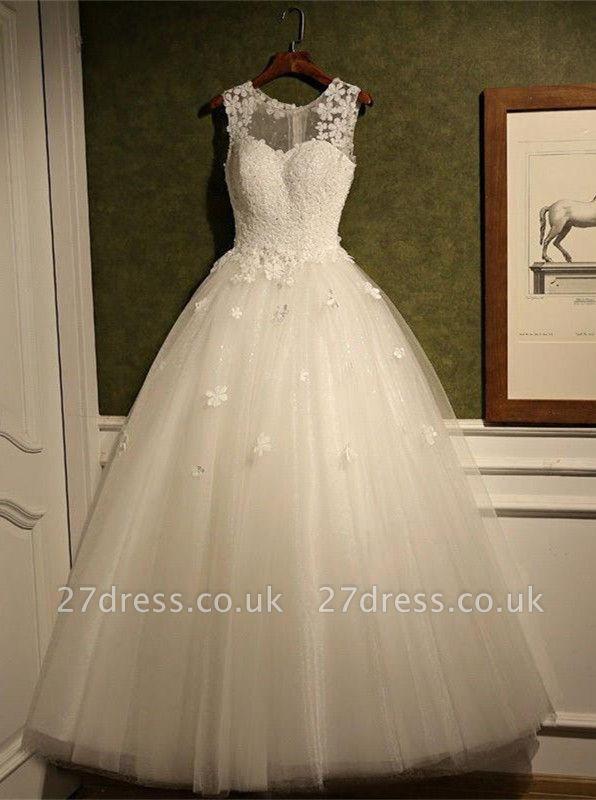 Stunning Sleeveless Scoop Neckline Wedding Dress tulle Lace Appliques