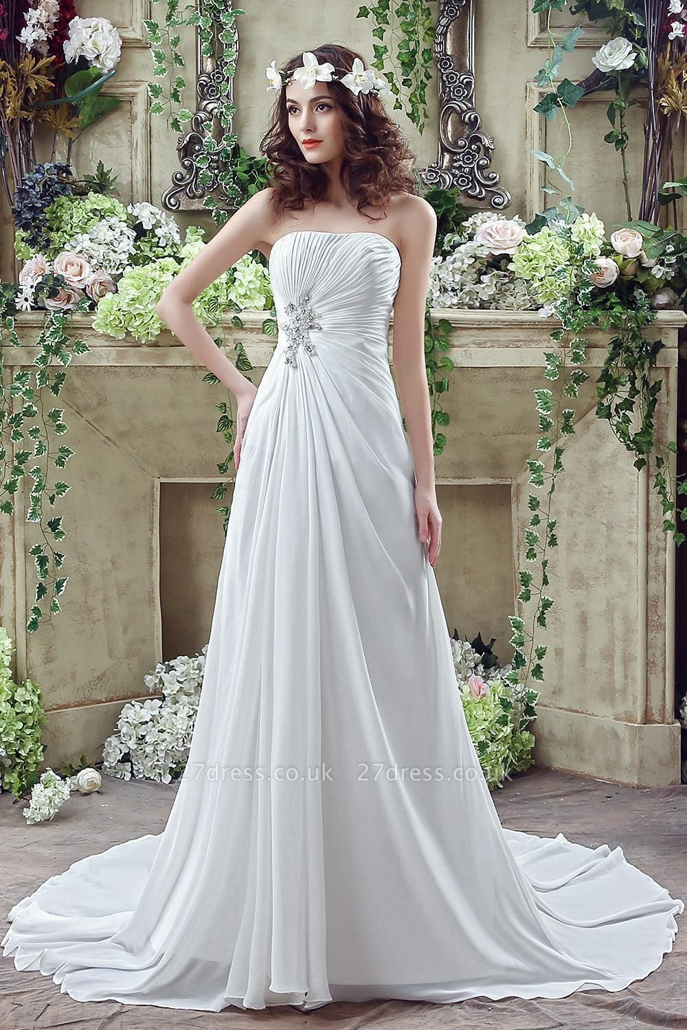 Newest Strapless White Beadss Wedding Dress A-line Sweep Train