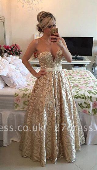 Modern V-neck Sleeveless Pearls Prom Dress UK Open Back Floor-length BT0