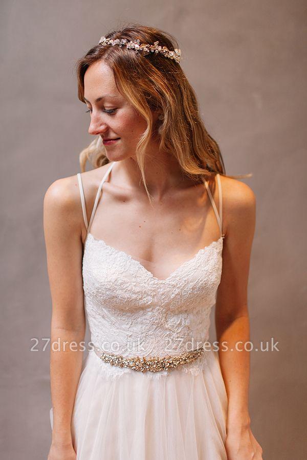Modern Sweetheart Sleeveless Wedding Dress Tulle lace Beads WE0164