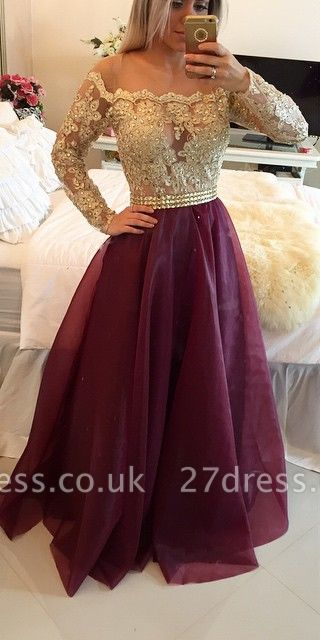 Newest Appliques A-line Off-the-shoulder Evening Dress UK Long Sleeve