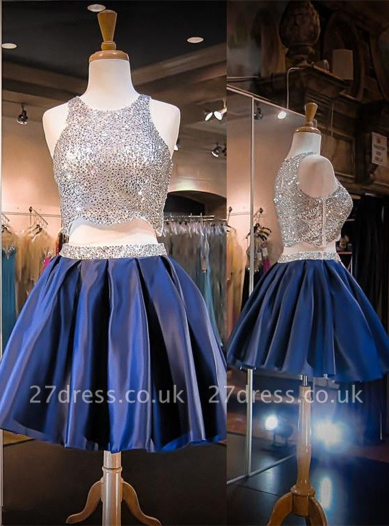 Luxury Two Piece Mini Homecoming Dress UK Sequined Jewel Sleeveless