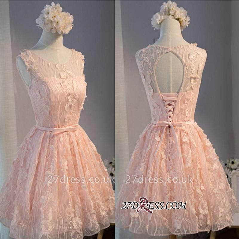Mini Sleeveless Scoop Bows With Homecoming Dress UKes UK Applique Sashes Short A-Line Cocktail Dress UKes UK