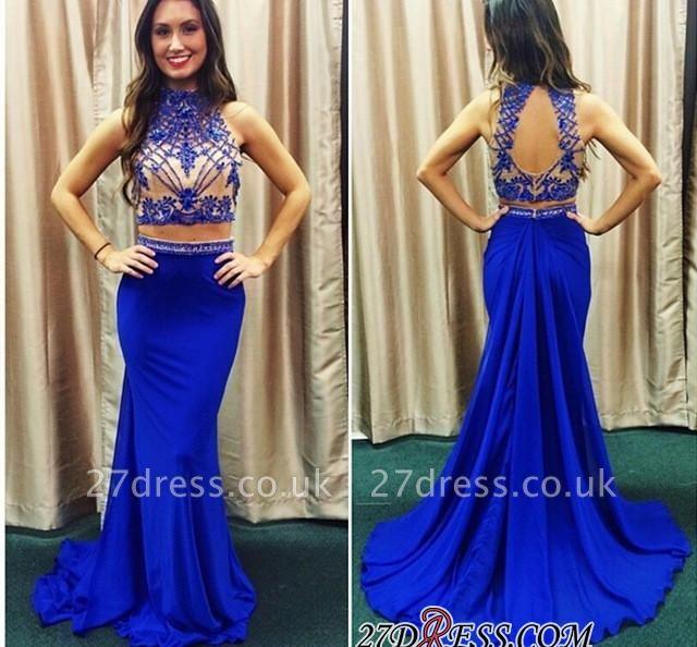 Lace Mermaid Zipper High-Neck Two-piece Newest Prom Dress UK
