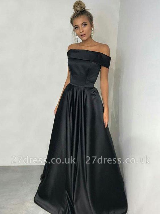 Elegant Black Off-the-Shoulder Long Prom Dress UK Online