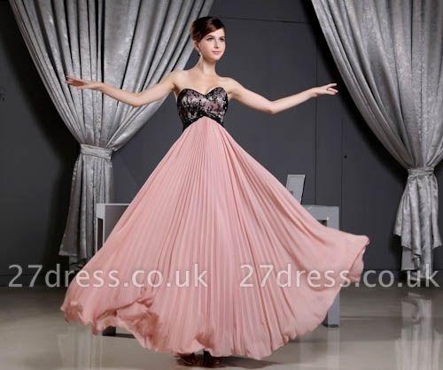 Black Long Lace Chiffon Sweetheart Luxury Bridesmaid Dress UK