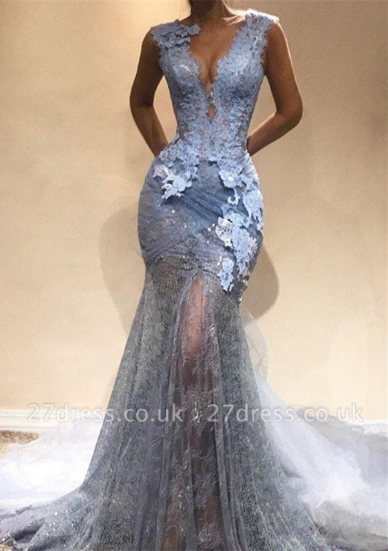 Sexy V-Neck Evening Dress UK Online   Mermaid Lace Prom Dress UK BA9567