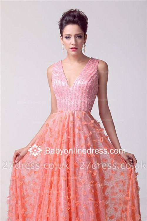 V-neck Appliques Luxury Prom Dress UK Beadings Tulle