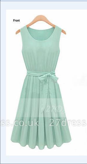 Cocktail Short Green Homecoming Dress UKes UK with Light Jewel Sleeveless Chiffon Ruffles Bow Sash Simple Gowns