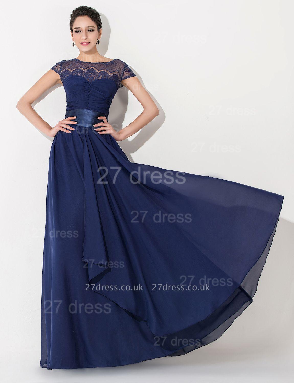 Newest Illusion Cap Sleeve Evening Dress UK A-line Bowknot