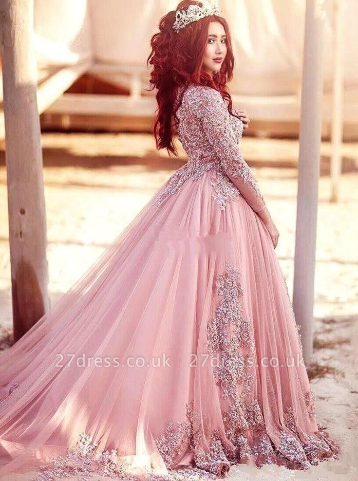 Luxury Long-Sleeve Arabic Style Lace Appliques Tulle Evening Dress UK