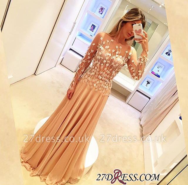 Long-Sleeve Long Chiffon Luxury Appliques Prom Dress UKes UK