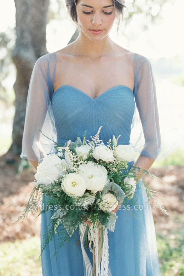 Modern Chiffon Sweetheart A-line Prom Dress UK Half Sleeve
