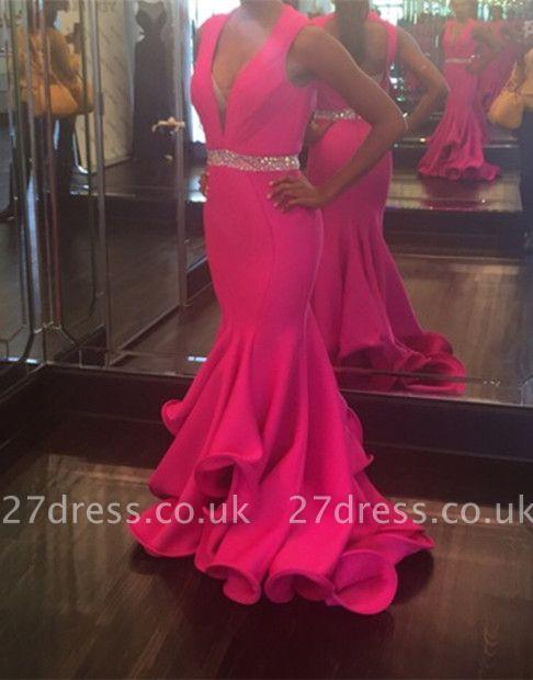 Stunning Sleeveless V-Neck Fuchsia Evening Dress UK Mermaid Beads