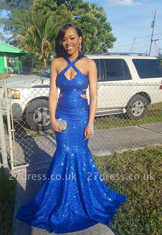 Royal-Blue Sequins Prom Dress UK | Halter Evening Party Gowns