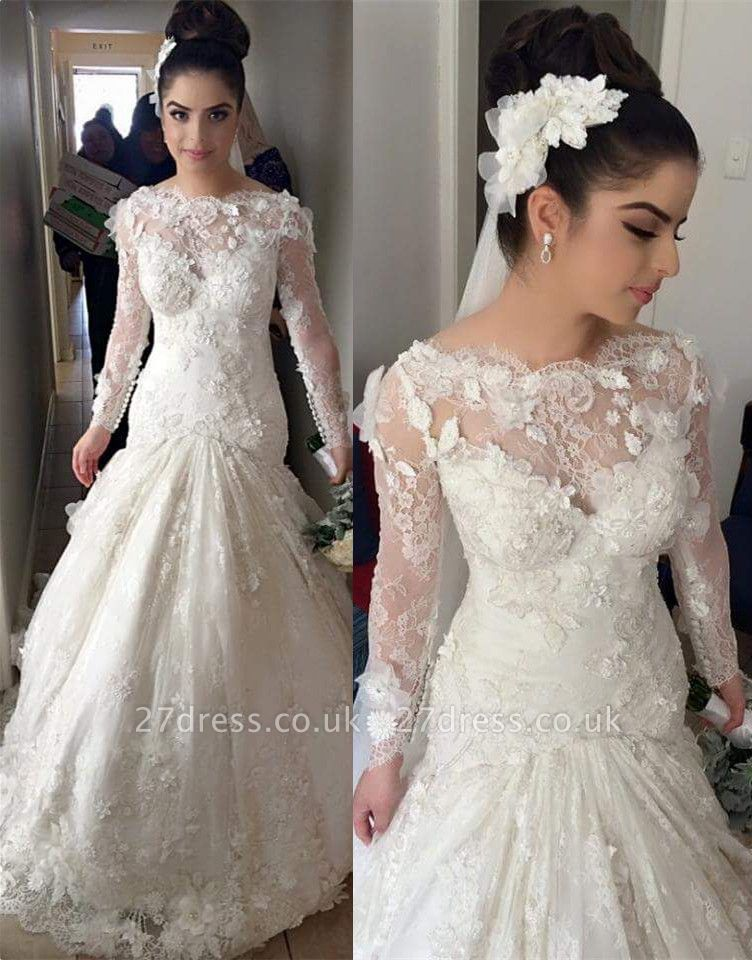 Delicate Illusion Sexy Mermaid Tulle Lace Wedding Dress With Flowers