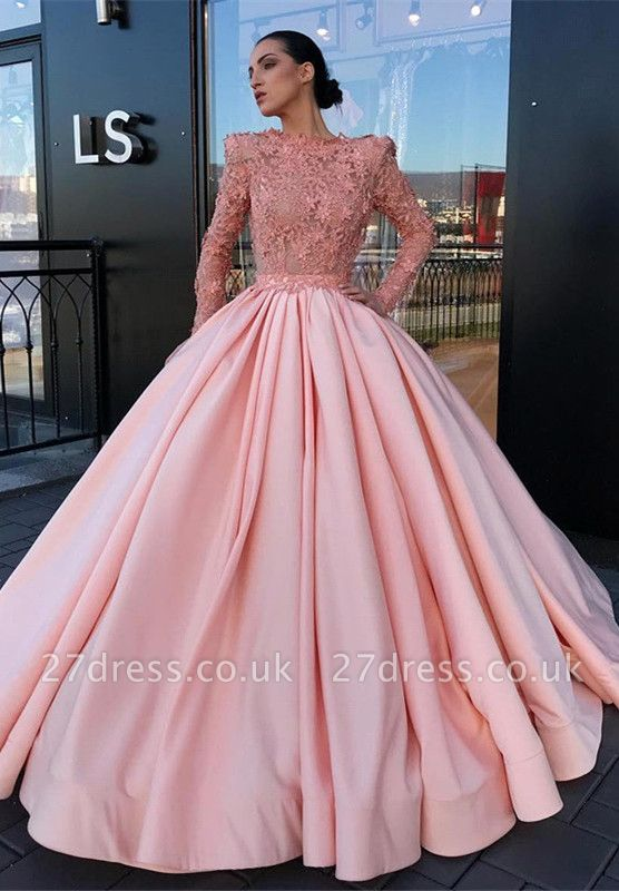 Long Sleeve Ball Gown Pink Prom Dress UK | Appliques Pink Evening Gowns