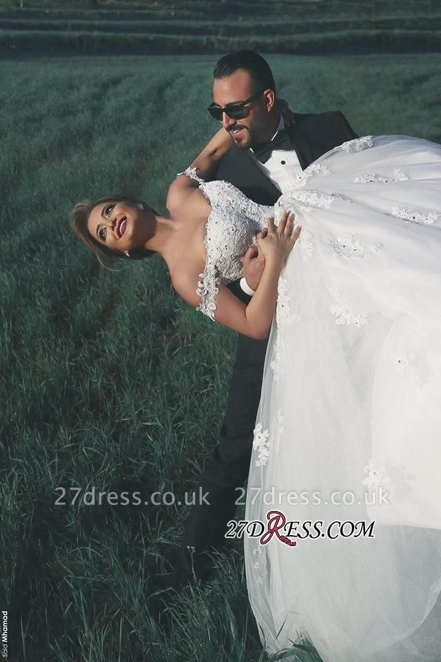 Straps Beads Lace-Appliques Ball-Gown Amazing White Wedding Dresses UK