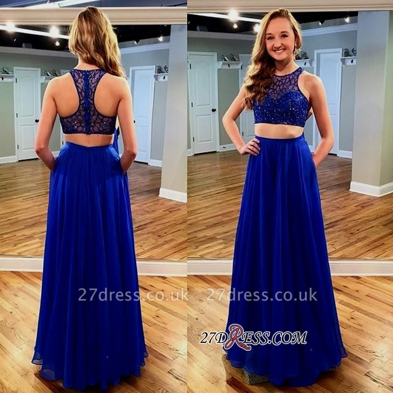 Newest Jewel Long Sleeveless Royal-Blue Beads Two-piece Prom Dress UK