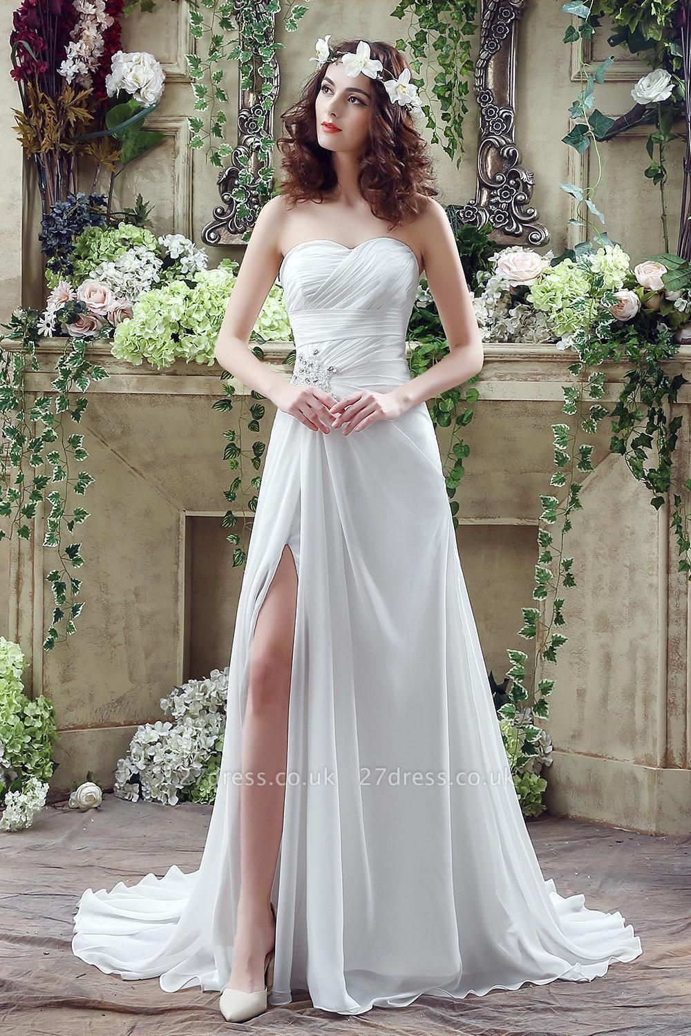 Front Split White Wedding Dress Beadss Sweetheart Sleeveless
