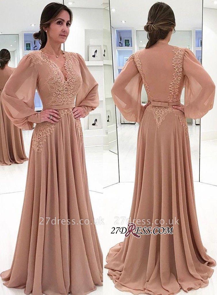 Long sleeve lace prom Dress UK,chiffon evening Dress UK online BA7906