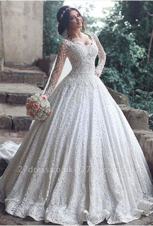 Pretty Long Sleeve Lace Wedding Dress Ball Gown Floor Length BA3046