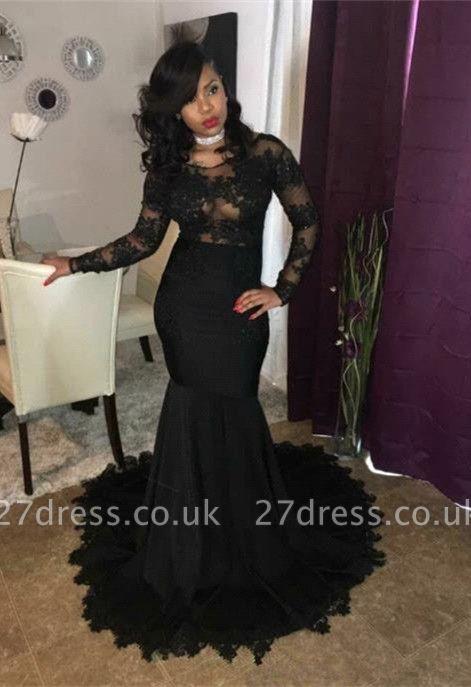 Elegant black lace prom Dress UK, long sleeve mermaid party Dress UK BA7785