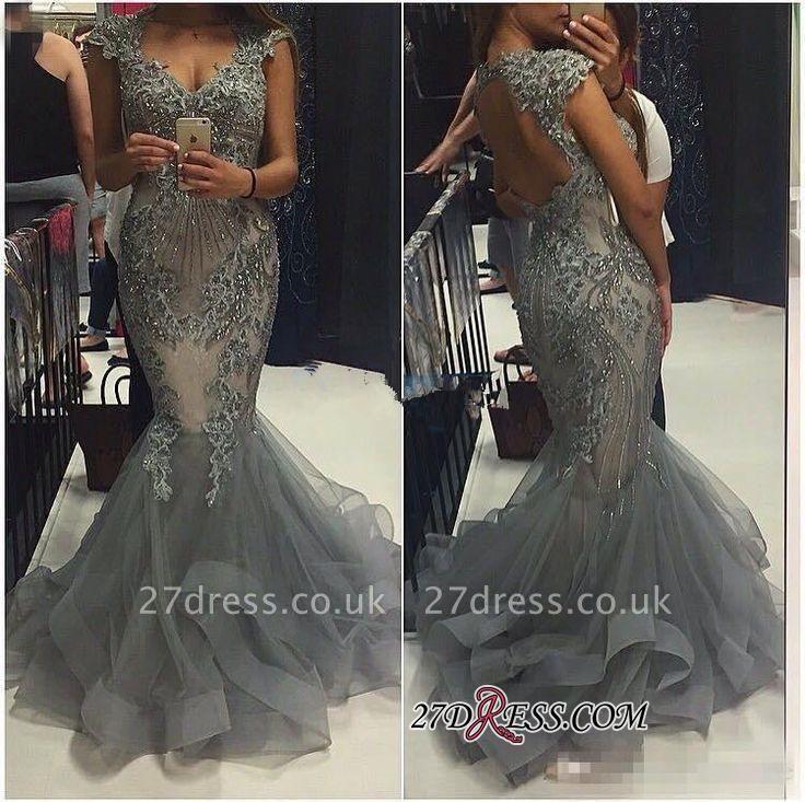 Tulle Crystal Open-Back Sexy Mermaid V-Neck Cap-Sleeves Prom Dress UKes UK
