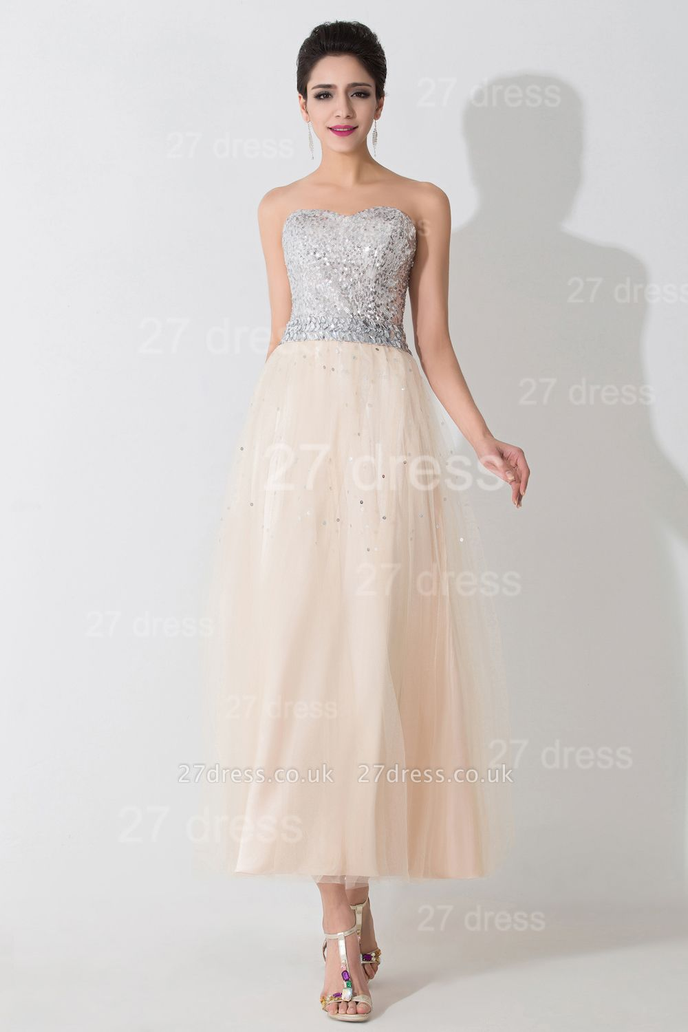 Gorgeous Sweetheart Sleeveless Sequins Evening Dress UK Lace-up