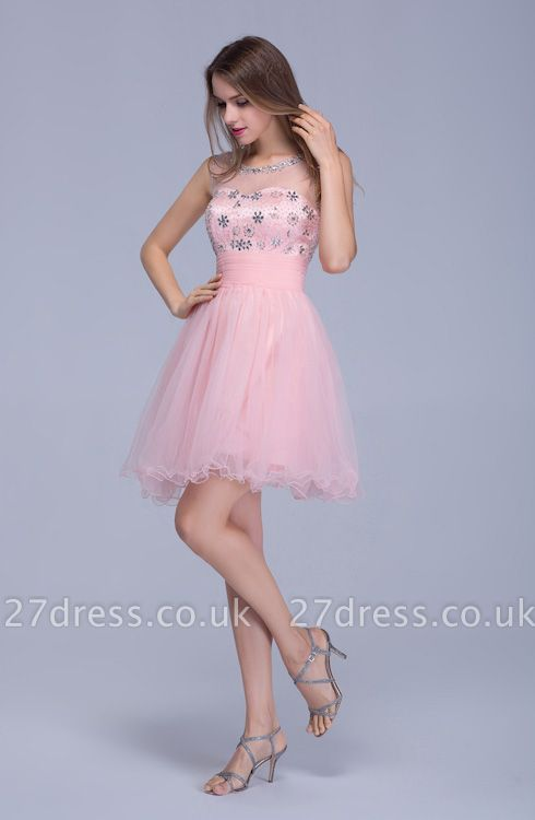 Lovely Illusion Pink Short Homecoming Dress UK Sleeveless With Crystals