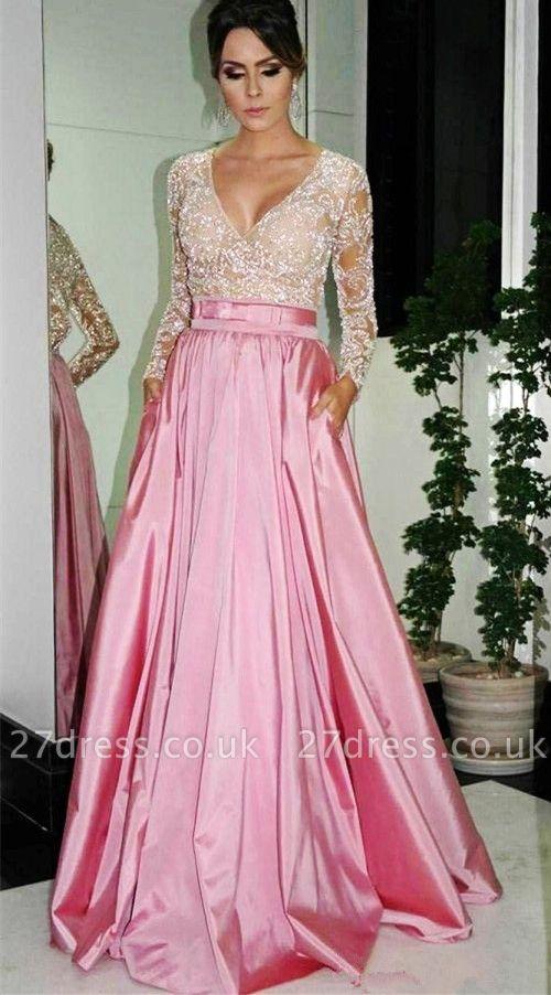 Sexy A-Line V-neck Prom Dress UKes UK Long Sleeve Evening Dress UKes UK with Beadings