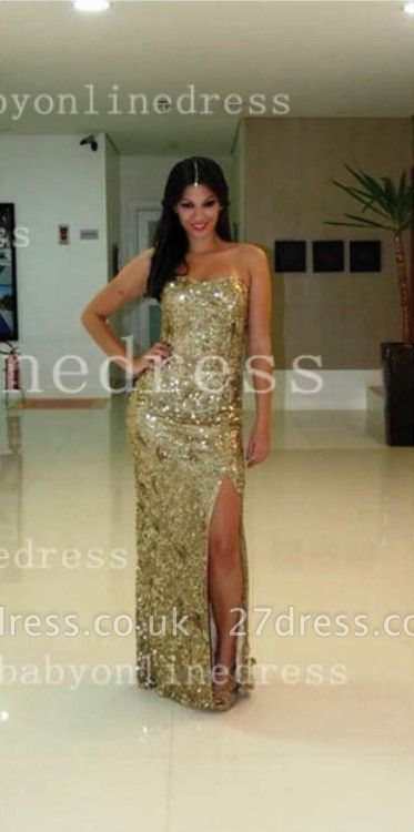 A-line Crystals Long Strapless Prom Dress UKes UK with Dress UK Party Gold Sequined Side Slit Party Pageant Gowns BA5095