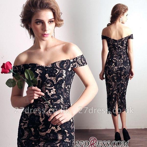 Back-Zipper Sheath-Column Sexy Off-the-shoulder Lace Evening Dress UK