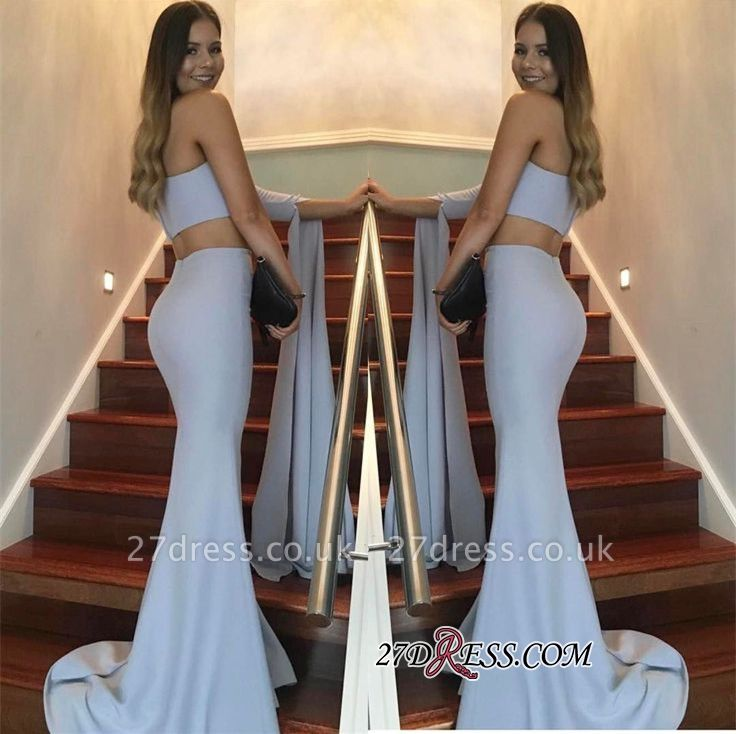 Floor-Length Mermaid Stunning Two-Pieces One-Shoulder Prom Dress UK