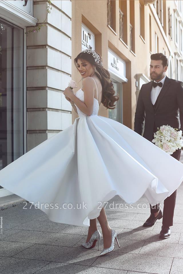 Modest Spaghetti Strap A-line Wedding Dress | White Bridal Gown