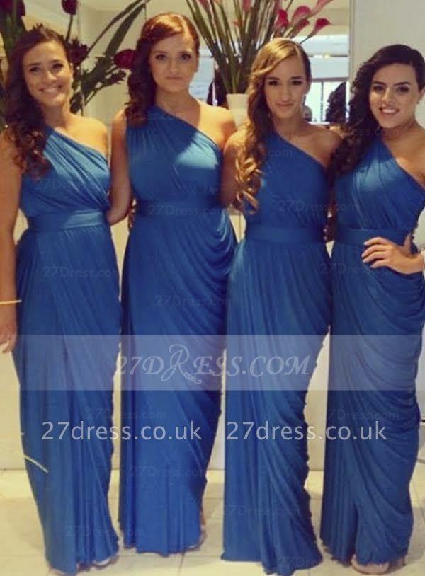 Floor-length Long Chiffon Bridesmaid Dress UKes UK One-shoulder Sexy,sleeveless Sheath Bridesmaid Dress UK Sash