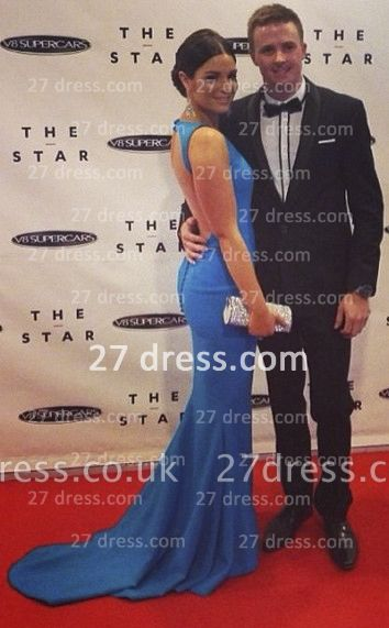 Train Mermaid Style Prom Dress UKes UK New Boutique Evening Jewel Neck Court Backless Dress UKes UK
