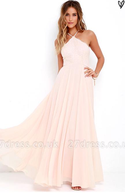 Sexy Halter Sleeveless Prom Dress UK Long Chiffon Lace TH046
