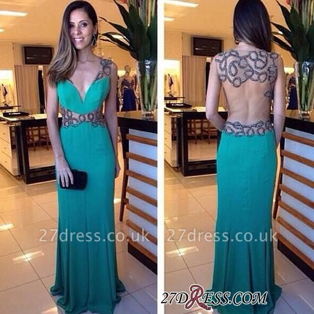 Hollow Sexy Floor-length Deep-V-neck Crystal Green Column Evening Dress UK