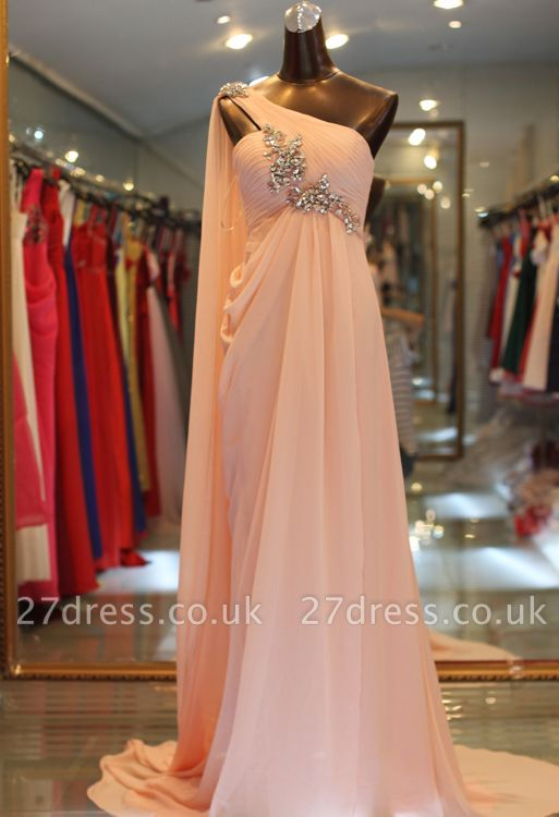 Sexy One Shoulder Long Chiffon Evening Dress UK With Crystals