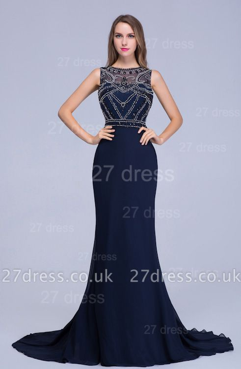 Newest Illusion Mermaid Beadings Evening Dress UK Sweep Train