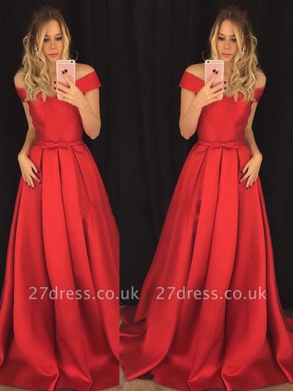 Sexy Red Off-the-Shoulder Prom Dress UK A-Line On Sale BA8047