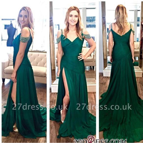 A-Line Zipper Long Green Ruffles Split Crystal Evening Dress UKes UK