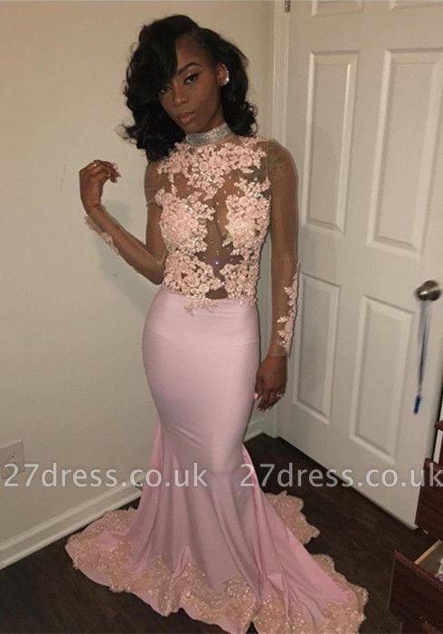 Pink High-Neck Prom Dress UK | Mermaid Evening Party Gowns With Lace Appliques BK0
