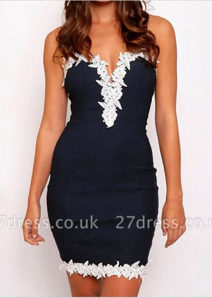 Elegant Lace Appliques Bodycon Prom Dress UK Spaghetti Strap Sleeveless
