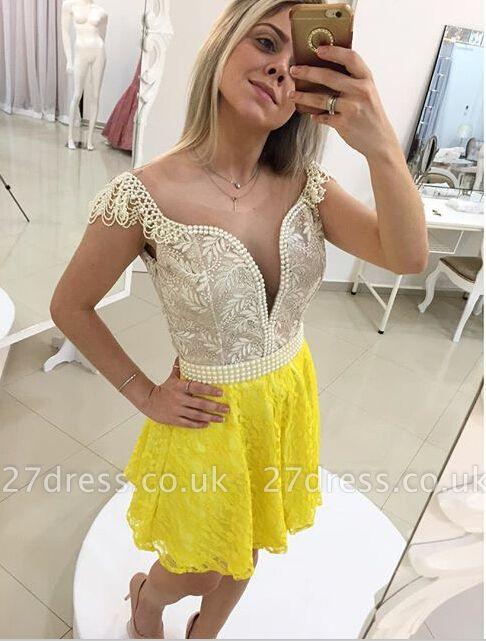 Elegant Cap Sleeve Short Cocktail Dress UK Open Back Pearls Bowknot BT0