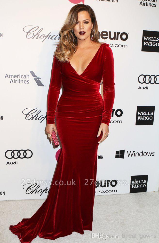 Beautiful Long Sleeve V-Neck Prom Dress UKes UK Burgundy Mermaid Long