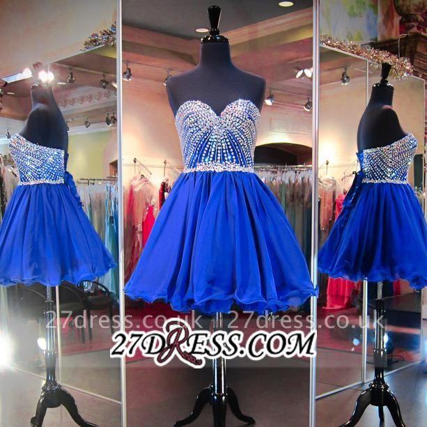 Sweetheart Mini Blue Lace-Up Crystal Homecoming Dress UKes UK BA3829